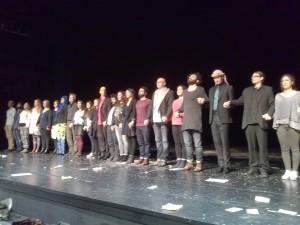 """Ensemble beim Premierenapplaus von """"Nathan"""" in den Bad Godesberger Kammerspielen (c) Ansgar Skoda"""