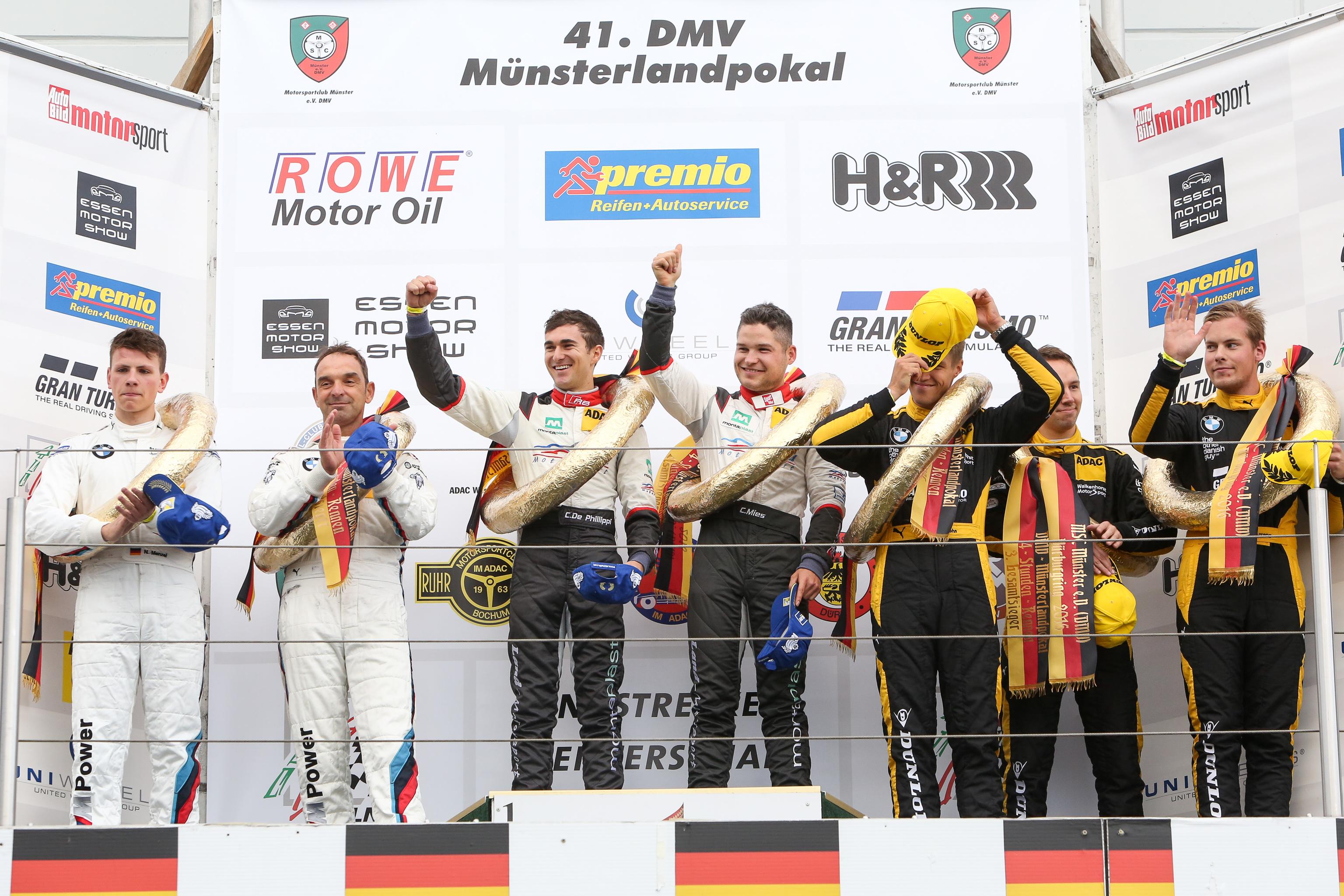 VLN Langstreckenmeisterschaft Nuerburgring 2016, 41. DMV MŸnsterlandpokal (2016-10-22): Siegerehrung. Foto: VLN
