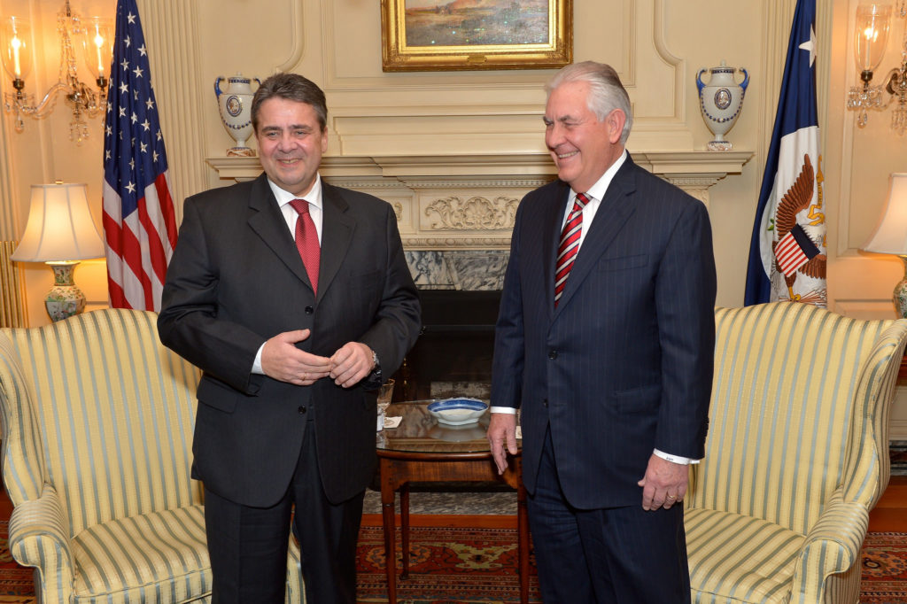 Secretary Tillerson and German Foreign Minister Share a Laugh Before Their Meeting in Washington U.S. Secretary of State Rex Tillerson and German Foreign Minister Sigmar Gabriel share a laugh before their bilateral meeting at the U.S. Department of State in Washington, D.C., on February 2, 2017. [State Department photo/ Public Domain]