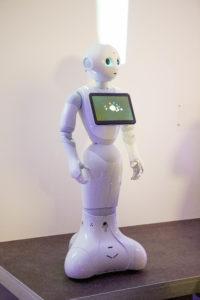 Ein weißer, etwa 1,20 Meter hoher Roboter mit einem iPad-ähnlichen Display auf der Brust.