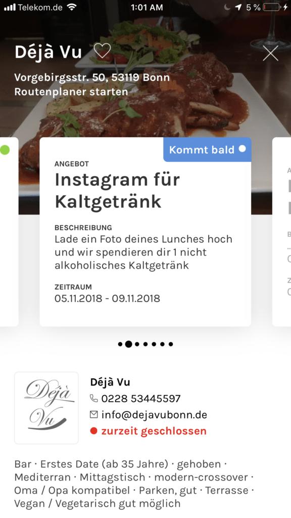 Der Eintrag vom Déjà vu bei der bonngehtessen-App